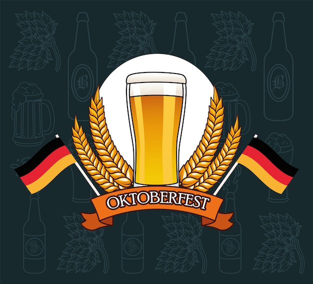 Beer glass with wheat ears wreath design, oktoberfest germany festival and celebration theme