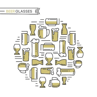 Beer glasses collection with different kinds of beige glasses pulled light beers and malts hand drawing on the white