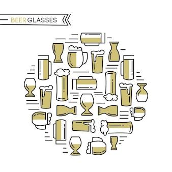 Коллекция пивных бокалов с различными видами бежевых бокалов, вытянутых из светлого пива и солода, рисования на белом