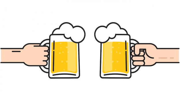 Beer glasses in hands with foam cheering illustration