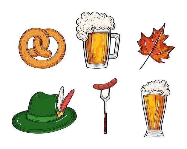 Beer glasses pretzel and sausage on fork hat and leaf design, oktoberfest germany festival and celebration theme
