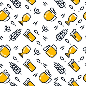 Beer glasses seamless pattern with different kinds of glasses pulled light beers and malts hand drawing on the white
