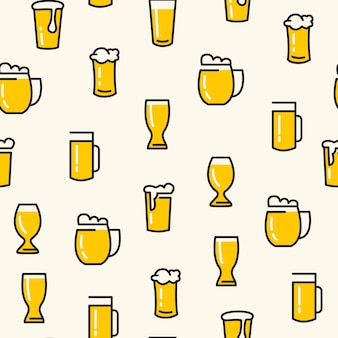 Beer glasses seamless pattern with different kinds of glasses pulled light beers on the white