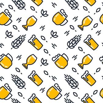 さまざまな種類のグラスとビールグラスのシームレスなパターンは、白に手描きの軽いビールとモルトを引っ張った