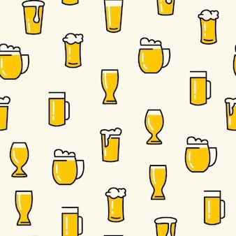 さまざまな種類のグラスとビールグラスのシームレスなパターンは、白に軽いビールを引っ張った