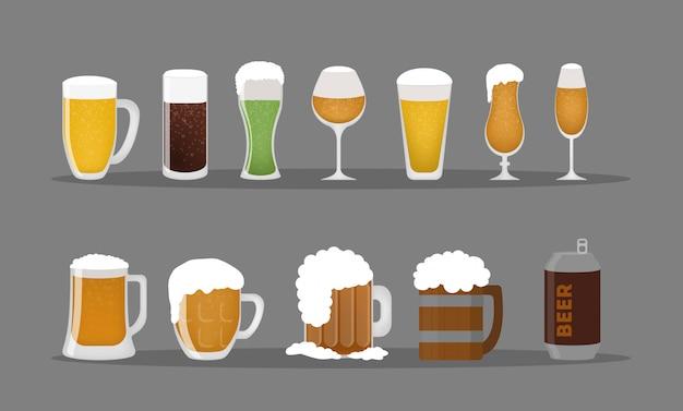 맥주 안경을 설정합니다. 나무와 유리 컵과 머그잔.