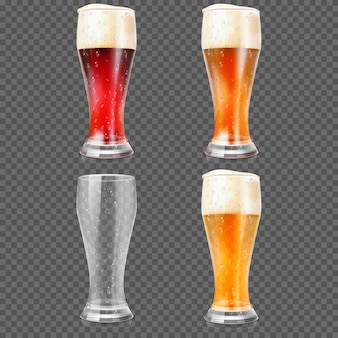 Beer glasses with light lager and dark