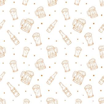 Beer hand drawn pattern background