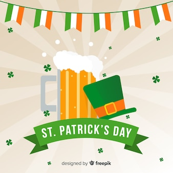 Beer and hat st patrick day background