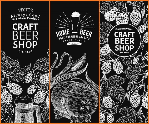 Beer hop design templates. vintage beer background. vector hand drawn hop illustration on chalk board. retro style banner set.