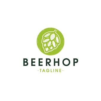 Шаблон логотипа органический пивной хоп, изолированные на белом