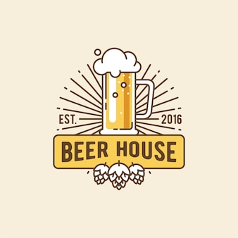 비어 하우스. 맥주 집에 대한 배지, 로고, 템플릿 및 디자인 요소.