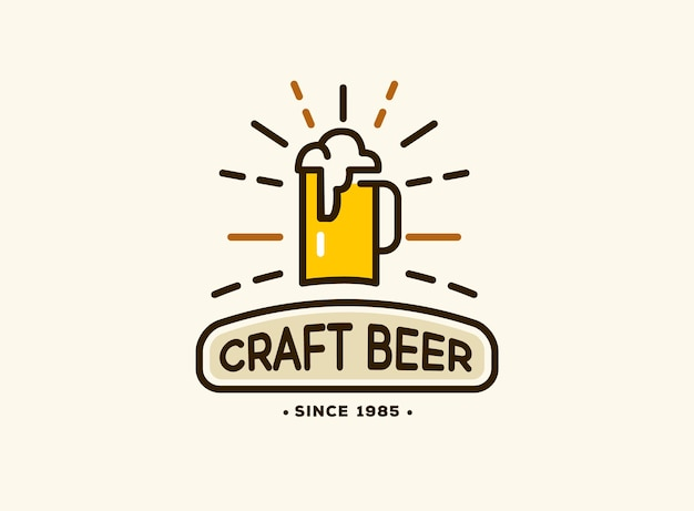 クラフトビールのロゴ、ビールハウスのエンブレム、バー、パブ、醸造会社、醸造所、居酒屋のビールハウスバッジ