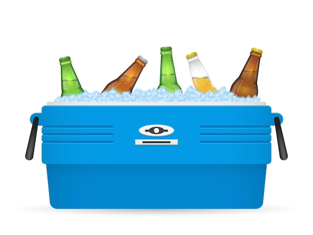 Beer ice cooler or beer ice box on white background illustration