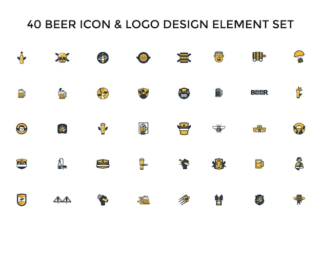 Beer icon logo design set