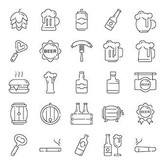 Beer icon pack, with outline icon style