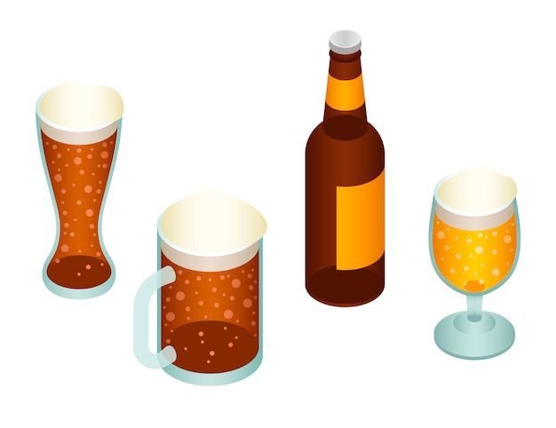 Beer icon set. isometric set of beer