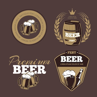 ビールのアイコン、ラベル、ポスターやバナーの看板。ビール祭り、プレミアムビール、ラベルビールのイラスト、ビールアルコールボトル。セットする
