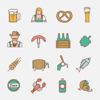 Beer icons set flat line