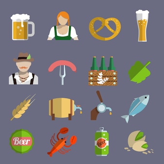 Beer icons set flat