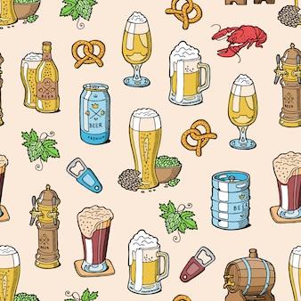 Пиво в пивоварне пивоварня пивная кружка или пивной чайник и темный эль или пивная бочка в баре на пивной вечеринке с алкоголем набор иллюстрации бесшовный фон фон