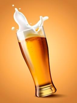 유리 컵에 맥주, 3d 일러스트에서 하얀 거품과 상쾌한 음료, 맥주가 튀는