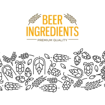 Beer ingredients design card with images under the yellow text and repeating of flowers, twig of hops, blossom, malt