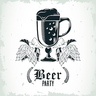 Beer jar drink and hops drawn isolated icon illustration design