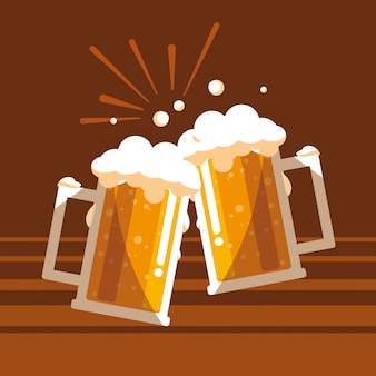 Beer jars toast isolated icon