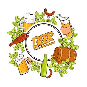 Beer label, emblem design with round frame