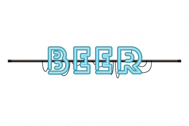 Beer label in neon light isolated icon