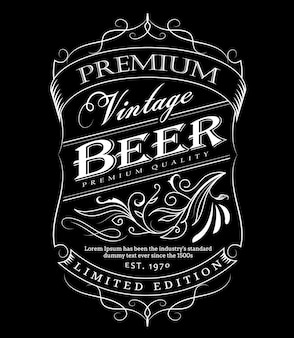 Beer label western hand drawn frame blackboard typography