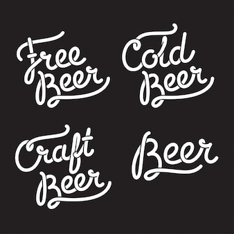 Beer lettering illustration: text signs free beer, cold beer, craft beer.