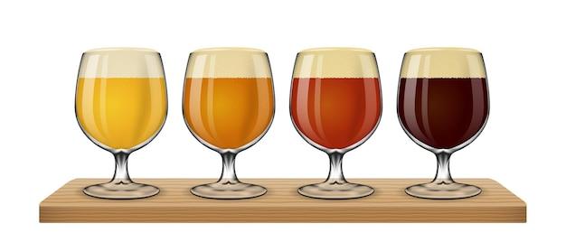 白い背景の上のビールライト。ガラスイラストのさまざまな種類のセット