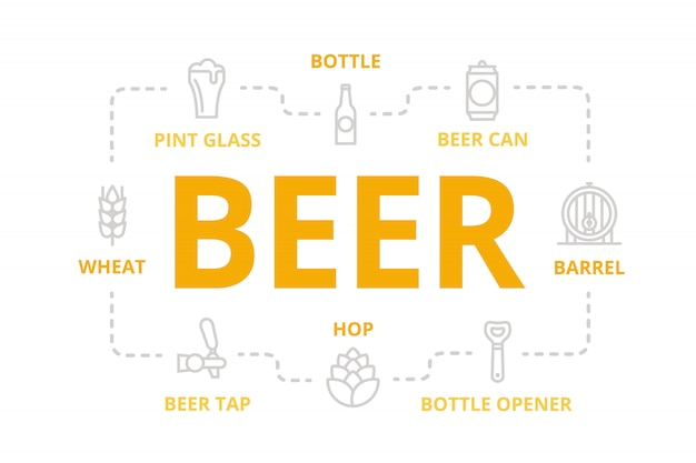 Beer line banner for design concept.