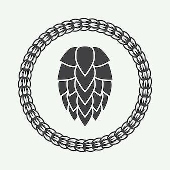 ヴィンテージスタイルのビールのロゴ。ベクトルイラスト
