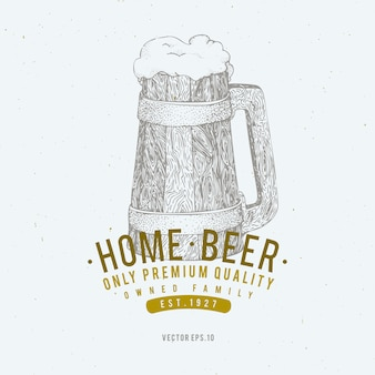 Beer logo template. vector hand drawn beer mug illustration