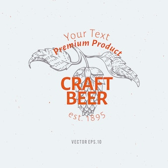 Beer logo template. vector hand drawn hop branch illustration.
