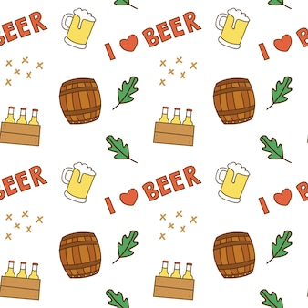 Beer lover theme seamless background