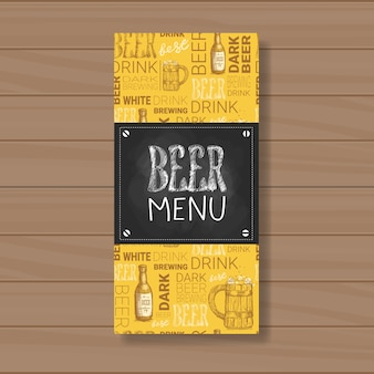 Beer menu design for restaurant cafe pub chalked