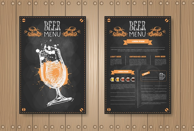 Beer menu set design for restaurant cafe pub chalked