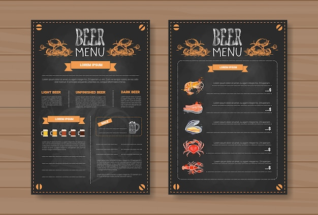 Beer menu set design for restaurant cafe pub chalked Premium Vector