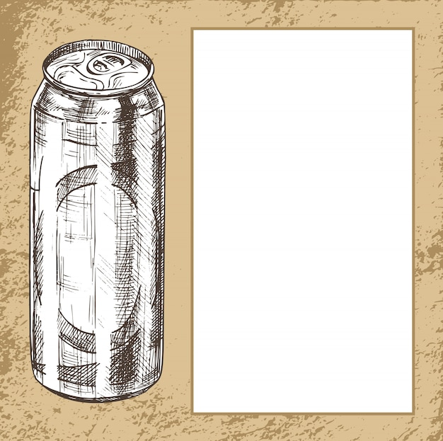 Beer metal can hand drawn poster with text sample
