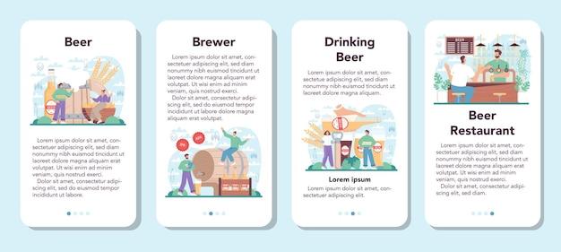 Beer mobile application banner set glass bottle and vintage mug