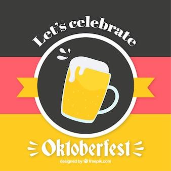 맥주 잔과 독일 국기 색상