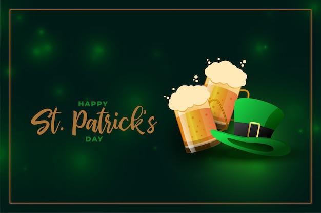 Boccale di birra e cappello del leprechaun per l'evento di giorno della st patricks
