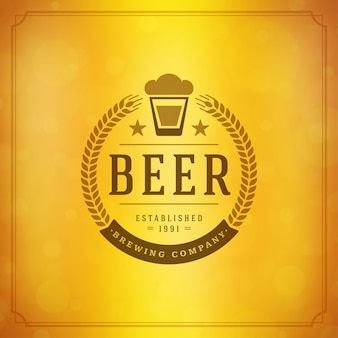 Beer mug logo with wreath emblem and typographic design