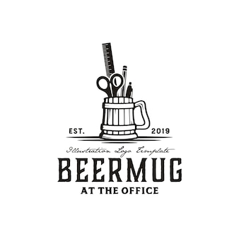 Beer mug & office tools hand drawn illustration vintage logo