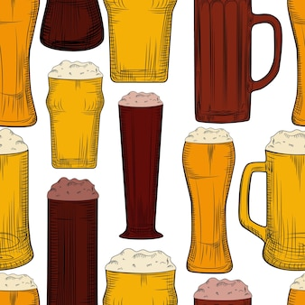 Beer mug seamless pattern. full beer glasses with foam backdrop. engraving style. alcoholic beverage design. hand drawn vector illustration on white background