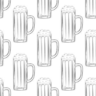 Beer mug seamless pattern. full beer glasses with foam.